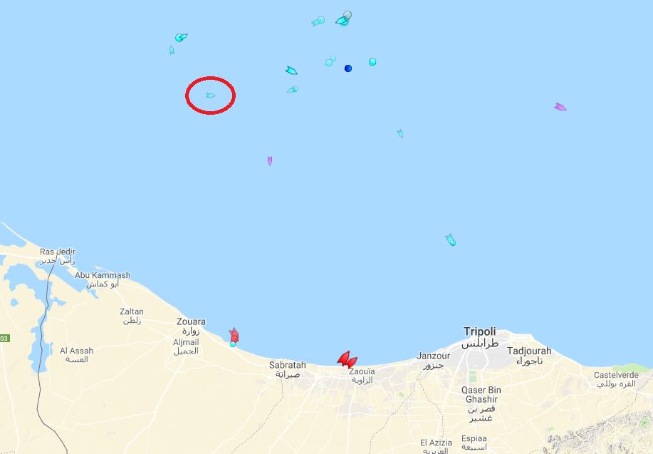 Le Mare Jonio, au large des côtes libyennes, le 26 août 2019. Crédit : Marine Traffic