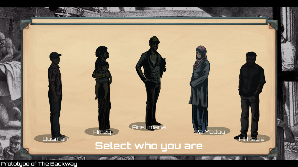 'The Backway' forces the player to make choices about the migration journey | Source: Prototype of 'The Backway', Impact Unified