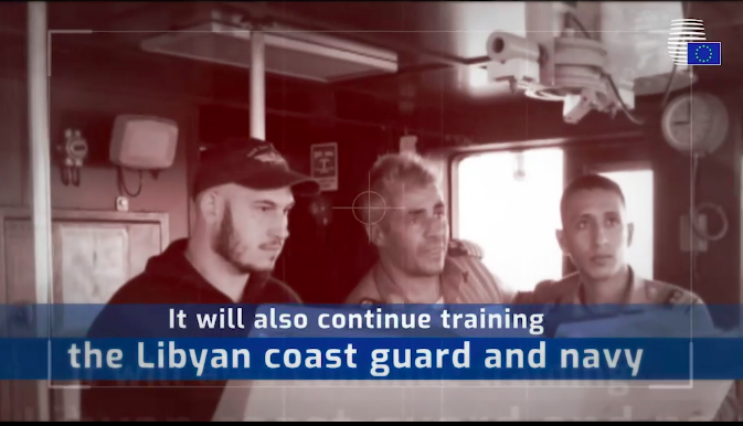 Screen Shot from Council of the European Union video explaining the role of the new military Operation Irini