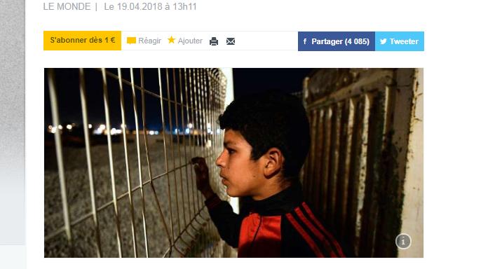 Cette photo de Mohammad, alors âgé de 16 ans, a été utilisée pour illustrer un article du Monde. Bouleversé de la trouver en ligne deux ans plus tard, il a souhaité raconter son histoire à l'auteur de l'article.