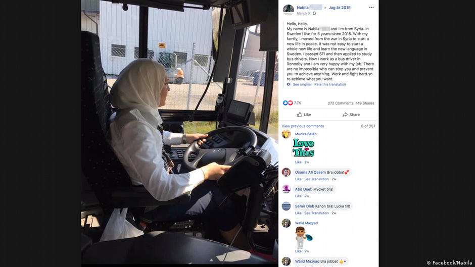 Nabila fled Syria and now works as a bus driver in the Swedish town of Ronneby | Photo: Facebook/Nabila