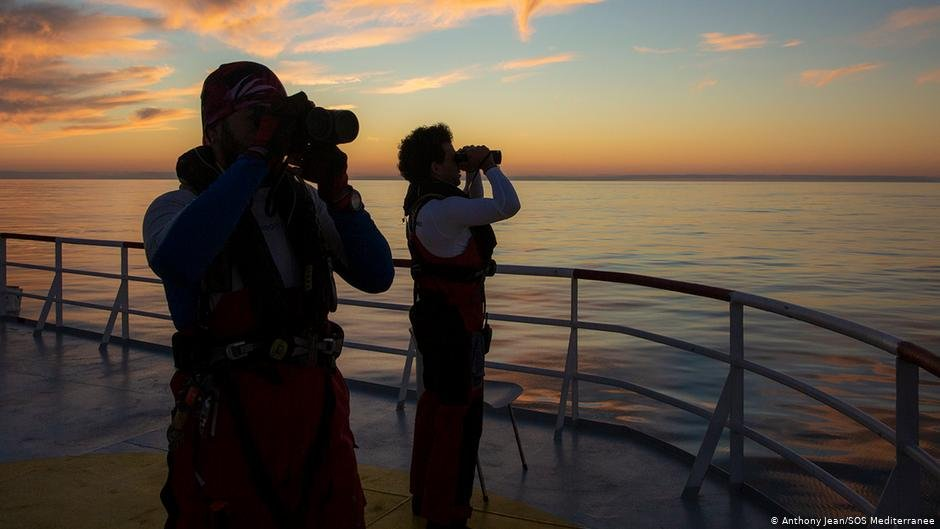 The crew of Ocean Viking is on the look out for boats in distress  Photo Anthony JeanSOS Mediteranee