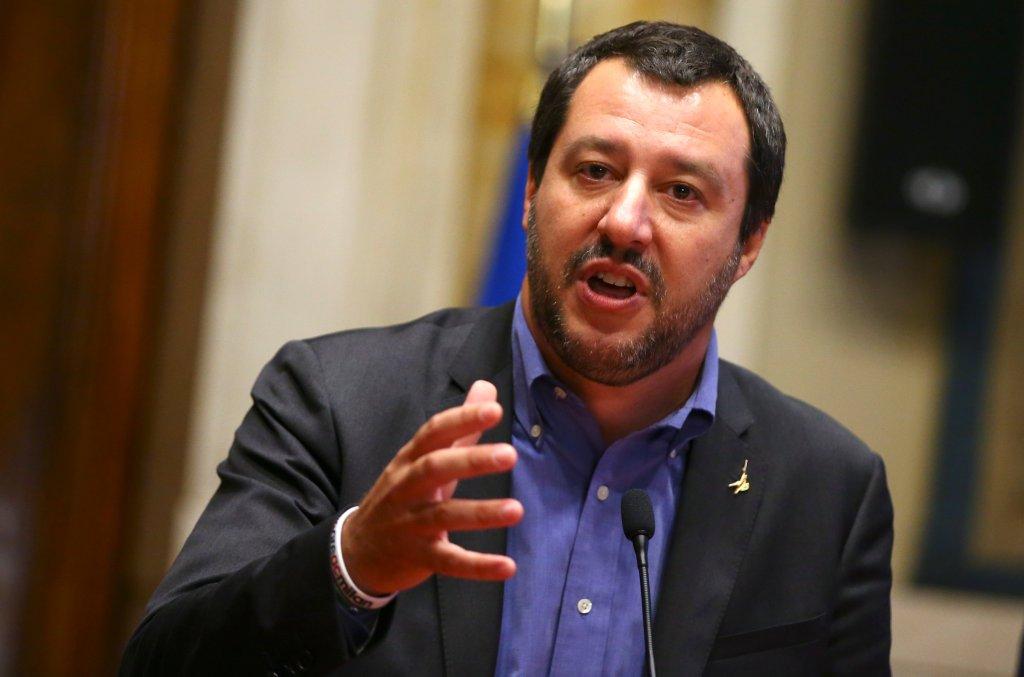 Matteo Salvini, ministre de l'Intérieur italien et chef du parti d'extrême droite la Ligue, le 24 mai 2018, à Rome. Crédit : REUTERS/Tony Gentile