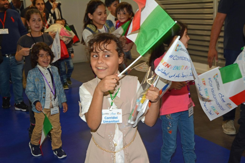 A young Syrian girl just after her arrival at Fiumicino airport, in Rome, from Lebanon, thanks to 'humanitarian corridor' | Credit: ANSA
