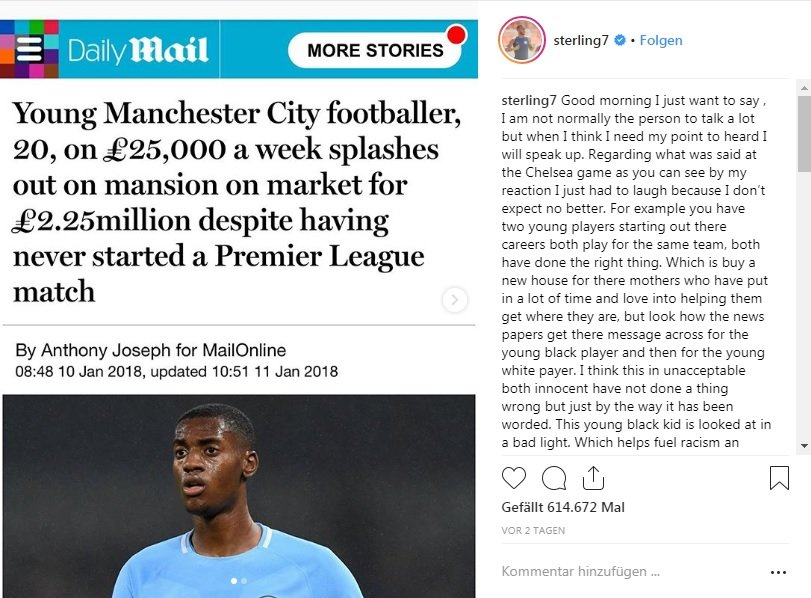 Man City player Raheem Sterlings post has been called a watershed moment