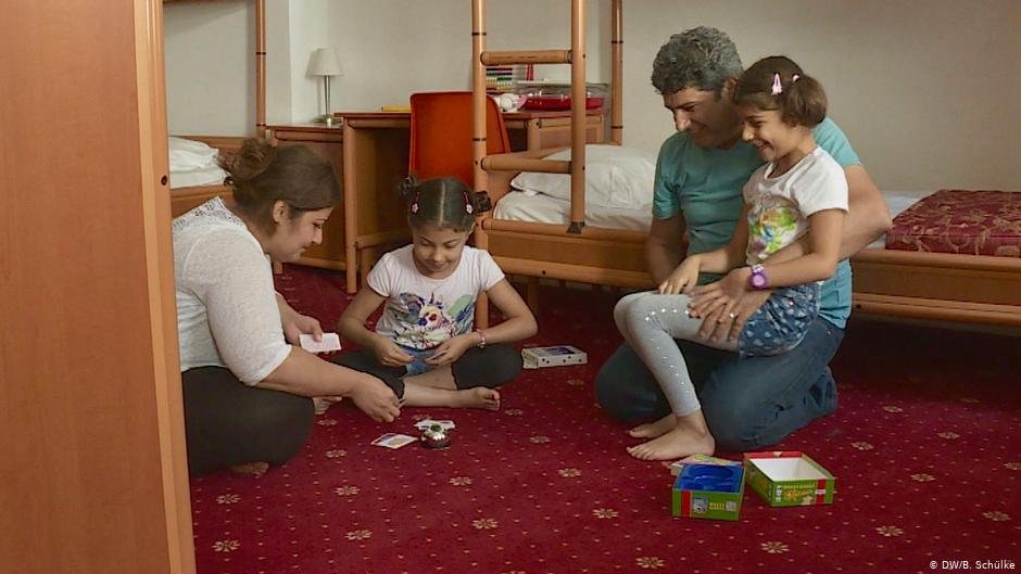 The Jaafar family playing games in their refugee accomodation in Berlin in 2016  Photo DWBSchlke