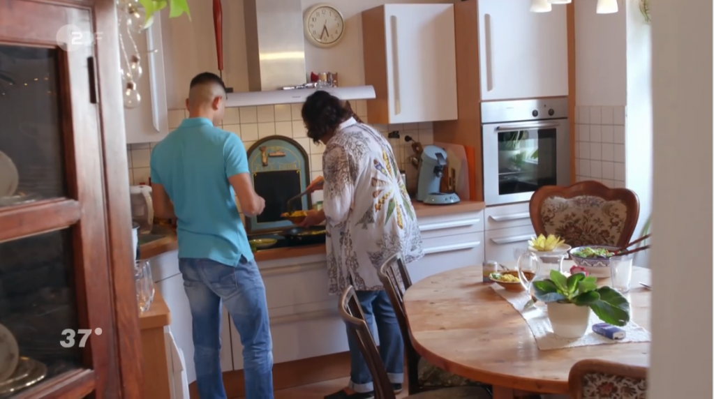 Samir and Dina enjoy cooking together but Dina cant replace the family Samir has lost  Credit Screenshot ZDF documentary
