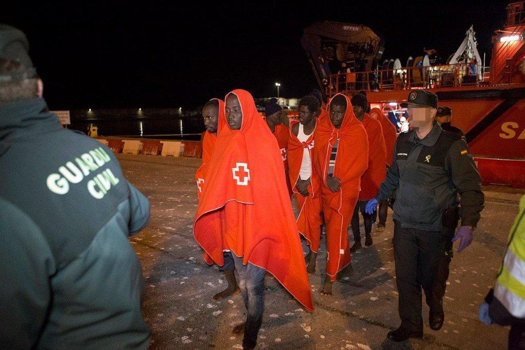 Sub-Saharan migrants land at the Motril port near Granada   Credit: EPA