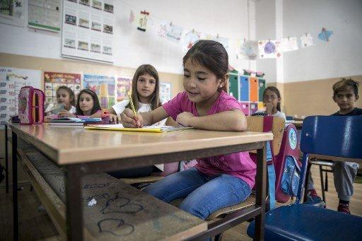 © OLIVER BUNIC/AFP |La jeune Zainab Ali, 8 ans vient d'Afghanistan, elle a pu faire sa rentrée scolaire dans une école de Belgrade, le 7 septembre 2017.
