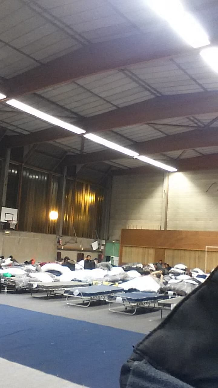 For the first time since he arrived in France Mohammed has secured a bed in a heated sports hall just outside of Paris Photo MohammedPrivate