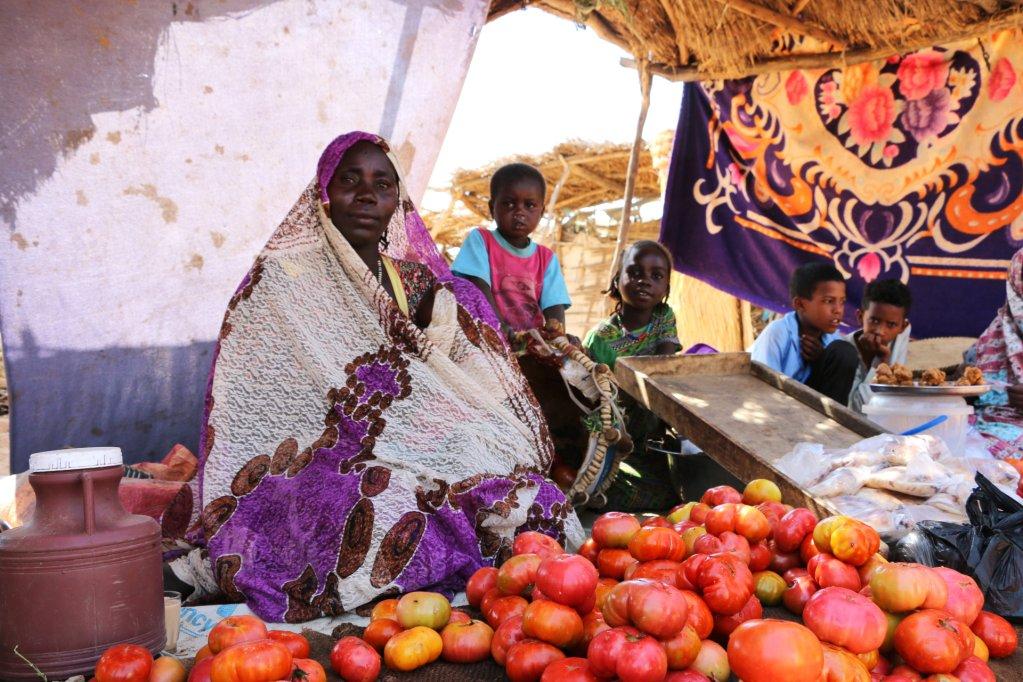 ©RFI/Aurélie Bazzara |Cette femme soudanaise vend des tomates au marché pour subvenir aux besoins de ses enfants, camp de Djabal à Goz Beïda, décembre 2018.