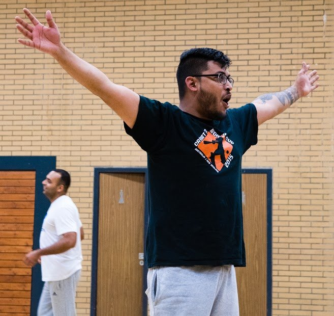 Kawsar Khan, co-founder and captain of the club, celebrates after hitting the wickets with a throw   Photo: Kai Dambach