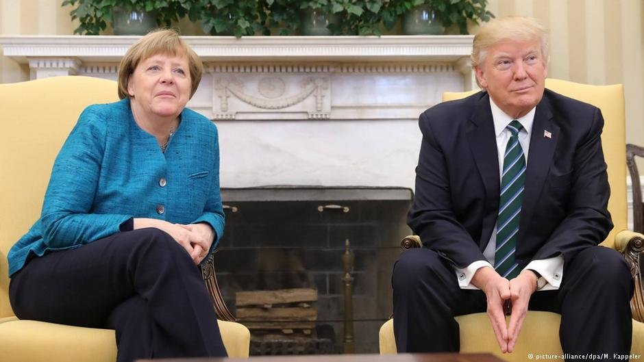 US President Donald Trump meeting with German Chancellor Angela Merkel