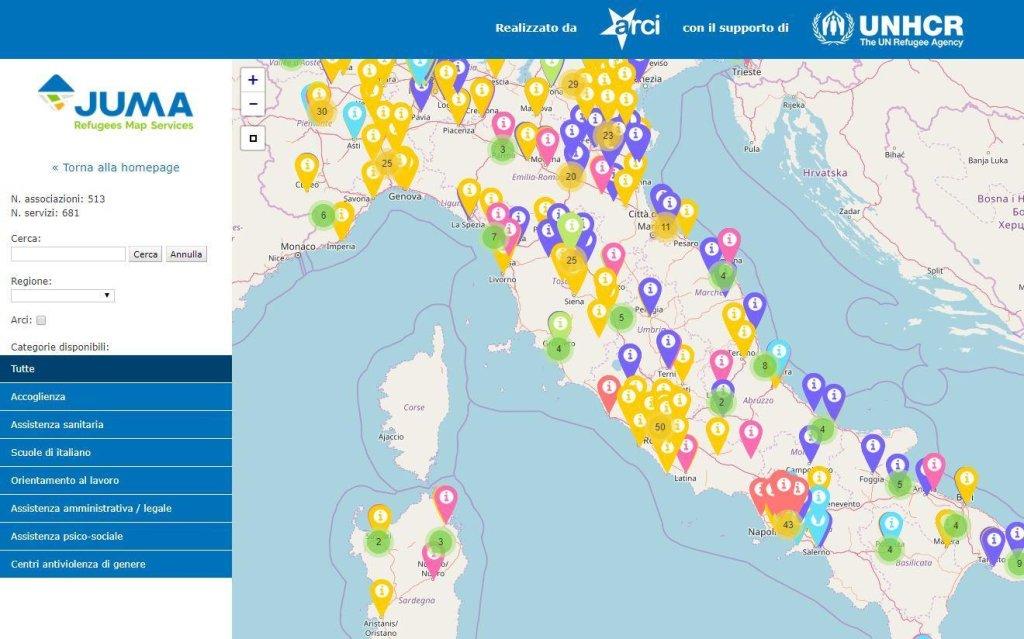 Ansa تعليق الصورة: صورة لخريطة جوما التي تمكن المهاجرين وطالبي اللجوء من الوصول إلى الخدمات التي يحتاجونها.