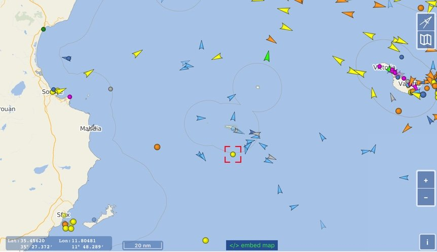 Le Marina se trouve au large de Lampedusa. Crédit : capture d'écran vessel finder