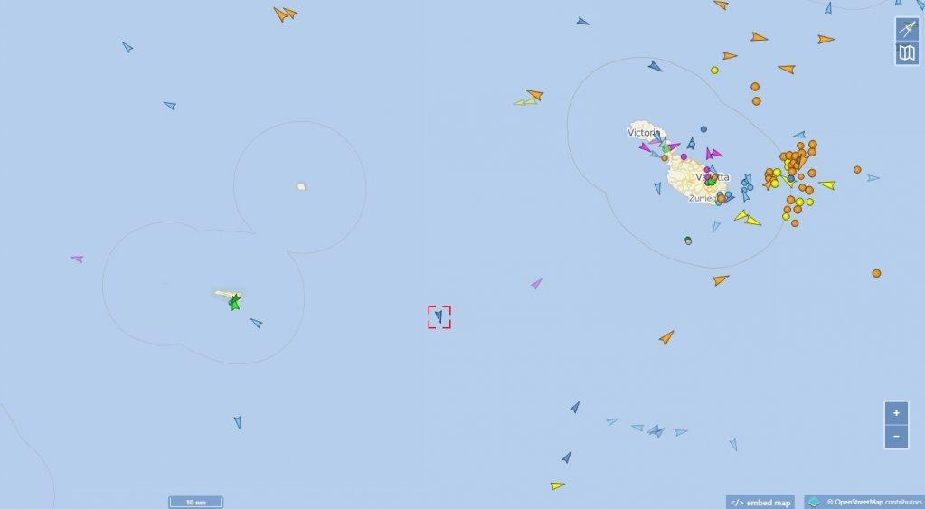 محل کنونی کشتی اوشن ویکینگ در منطقهای میان مالتا و جزیره سیسیلیا. عکس از vesselfinder.com