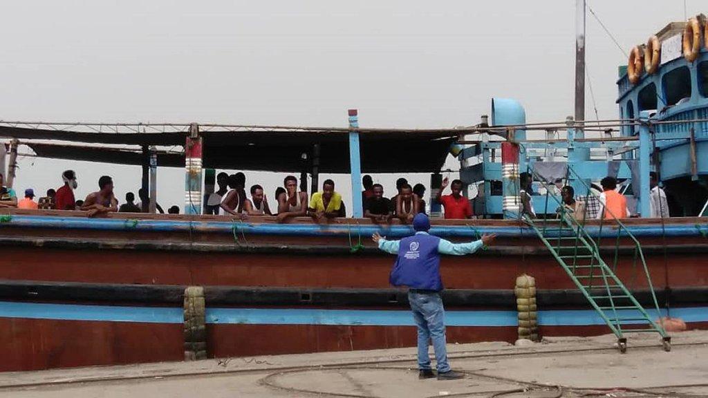 53 Ethiopian migrants departing from Hodeida port, Yemen, en route to Djibouti, where IOM staff will coordinate their onward journey to Ethiopia. Credit: IOM