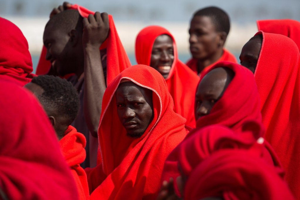 Migrants rescued at sea arrive at the port of Malaga in Southern Spain - credit: EPA/Carlos Diaz