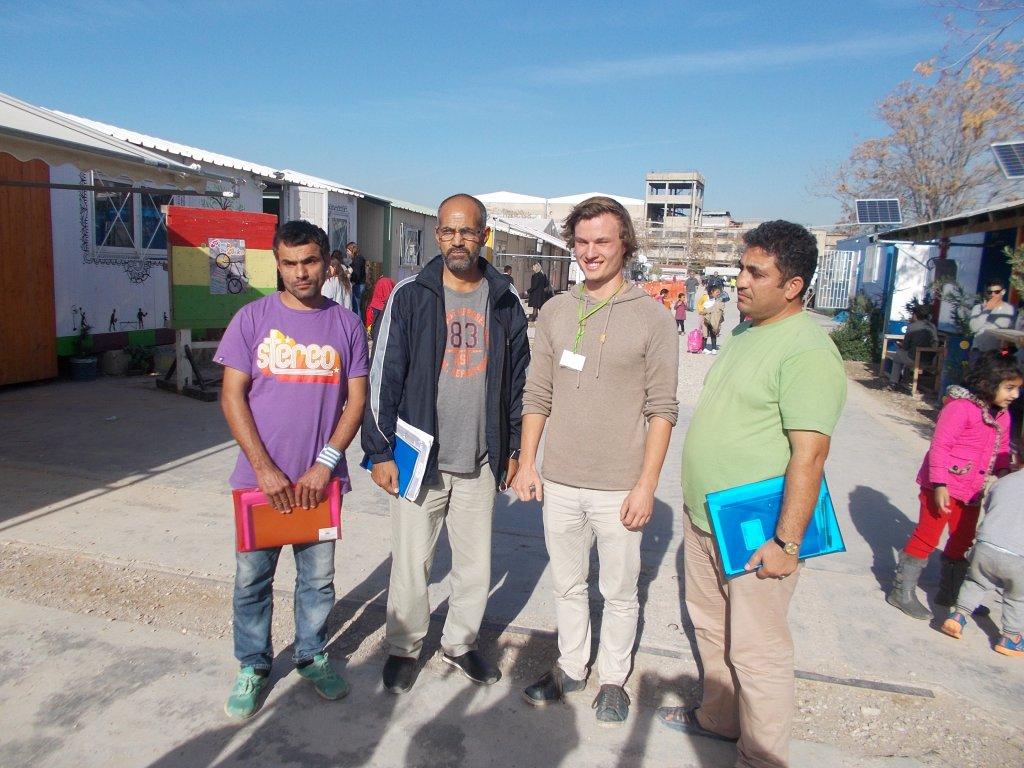 German teacher Valentin Laasch with his students   Credit: Jannis Papadimitriou