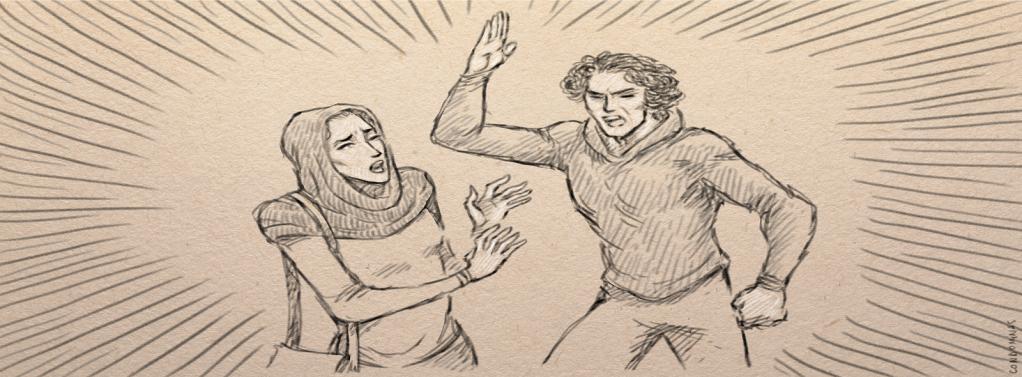 En Turquie, le conjoint de Nahid lui porte les premiers coups.