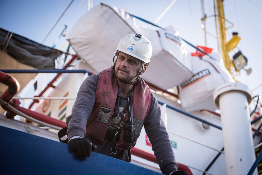 Philipp Hahn Sea-Watch Head of Operations on board Sea-Watch 4 | Photo: Sea-Watch / Chris Grodotski