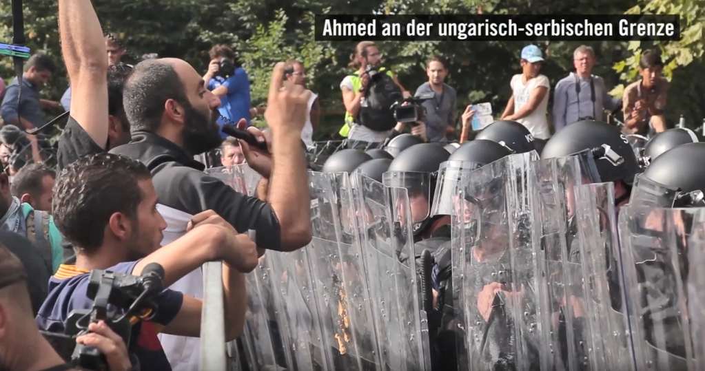 A screenshot of Ahmed speaking at the Serbian-Hungarian border in 2015    Credit: Screenshot from Amnesty International Deutschland film about Ahmed's case from February 2018