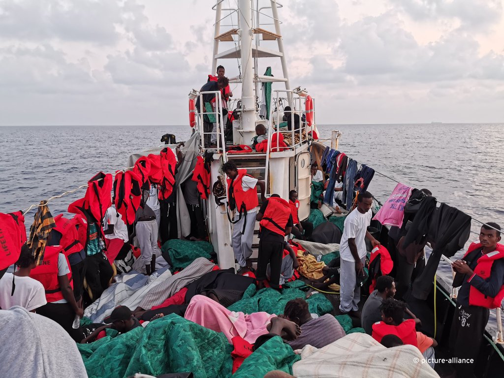 Roughly 100 migrants sit and lie on the deck of SAR vessel Eleonore in the early morning hours of September 2 2019  Photo Johannes Filous