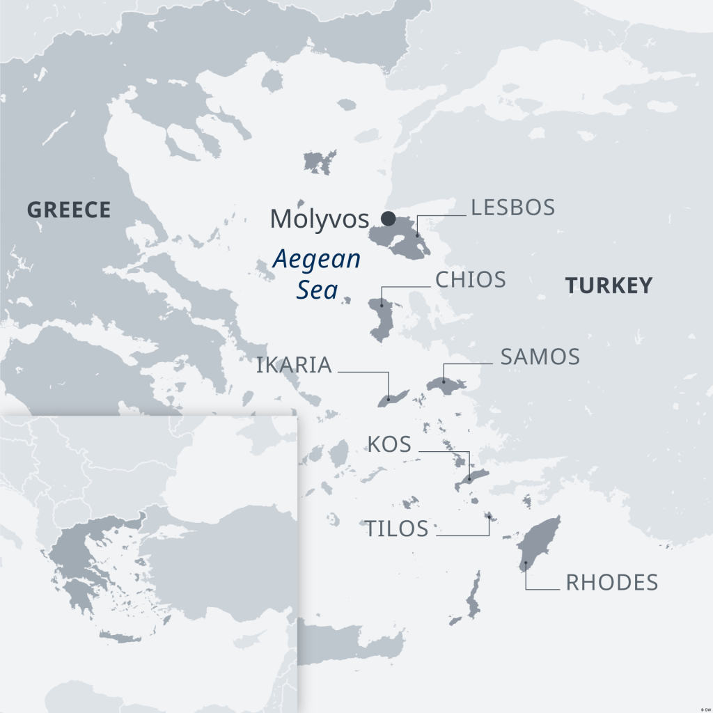 A map showing the Greek islands  Credit DW