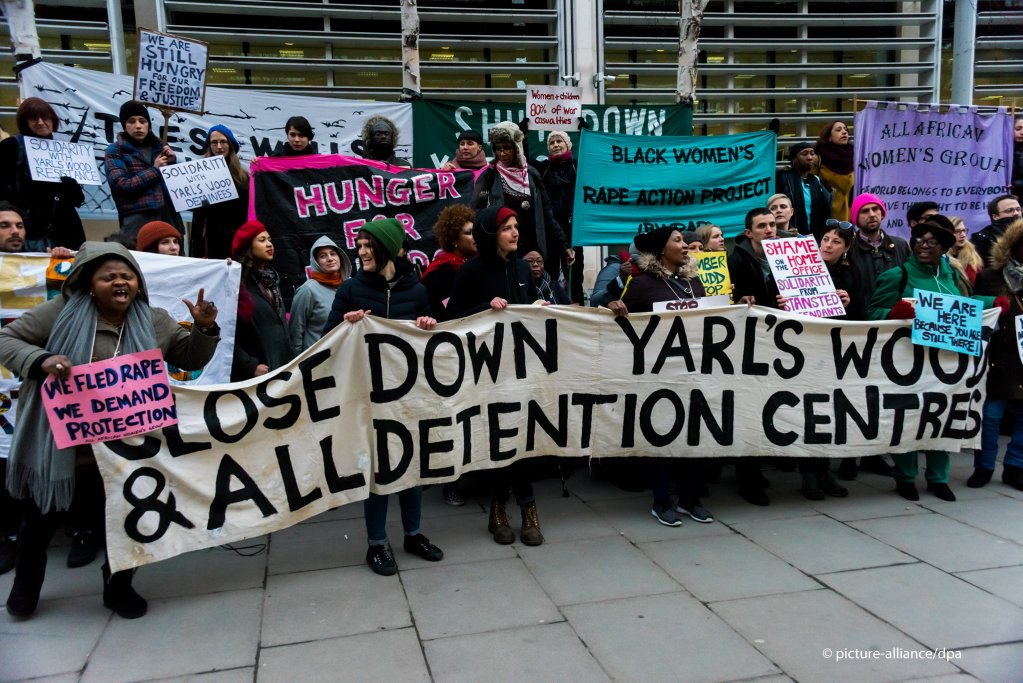 Protest at Yarls Wood immigration detention center Bedfordshire UK  Photo P Marshallpicture-alliance