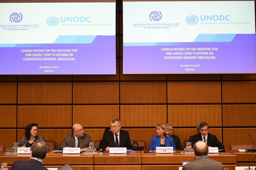 UNODC Executive Director Yuri Fedotov and IOM Regional Director Argentina Szabados opening the organizations' joint event on migrant smuggling at the UN in Vienna | Photo: IOM