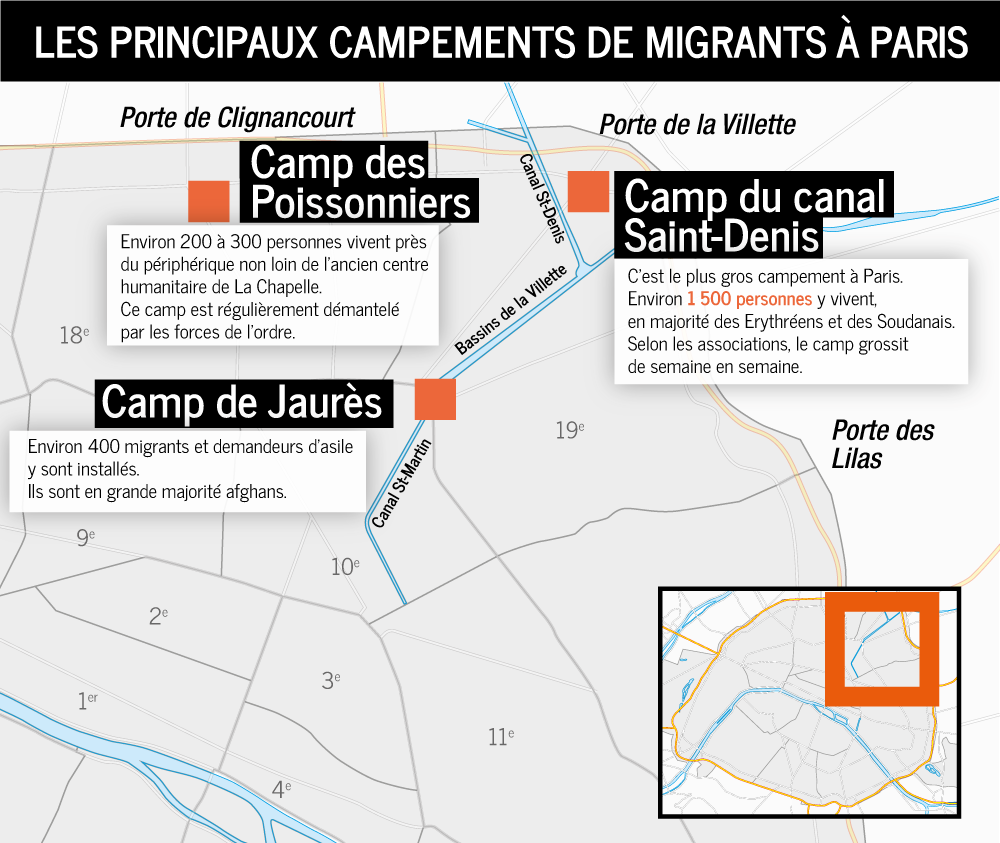 Carte des campements de migrants à Paris. Crédit : InfoMigrants