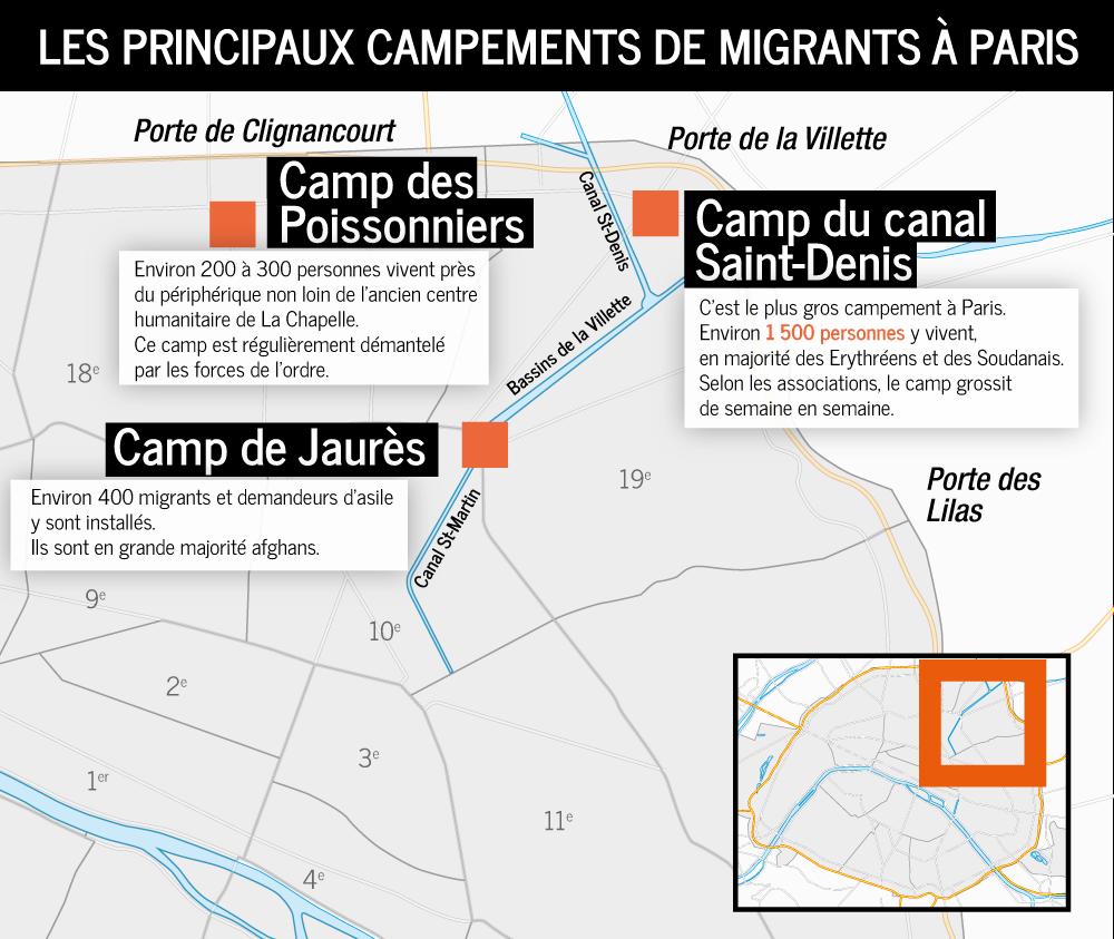 principaux campements de migrants à Paris