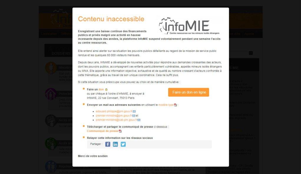 Le site web d'InfoMIE momentanément indisponible.