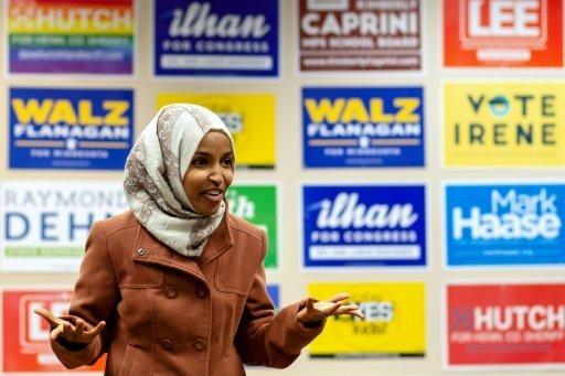 أ ف ب |المرشحة الأمريكية المسلمة إلهام عمر في مينيابوليس في 13 تشرين الأول/أكتوبر 2018