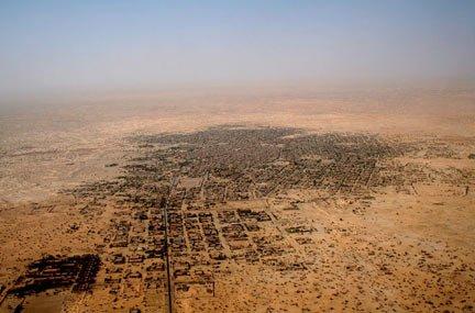Vue aérienne de la ville de Tombouctou au Mali. Crédit : Alida Jay Boye