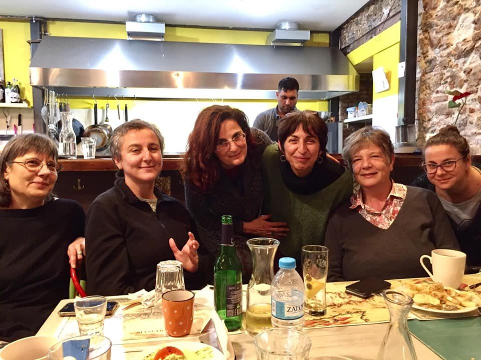 A picture of Lena and friends at Nan restaurant. Lena is fourth from left. Two other founders are also present. Evgenia first from left and Efi, third from left. Together the women co-founded Nan | Source: Nan restaurant facebook page