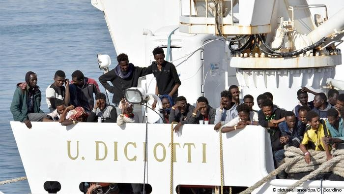 File picture of the Diciotti vessel with migrants onboard