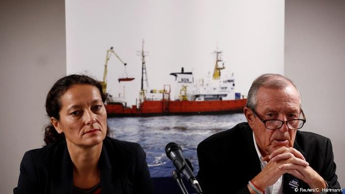 French NGO SOS Mediterranee chiefs Sophie Beau and Franic Vallat (Reuters/C.Hartmann)