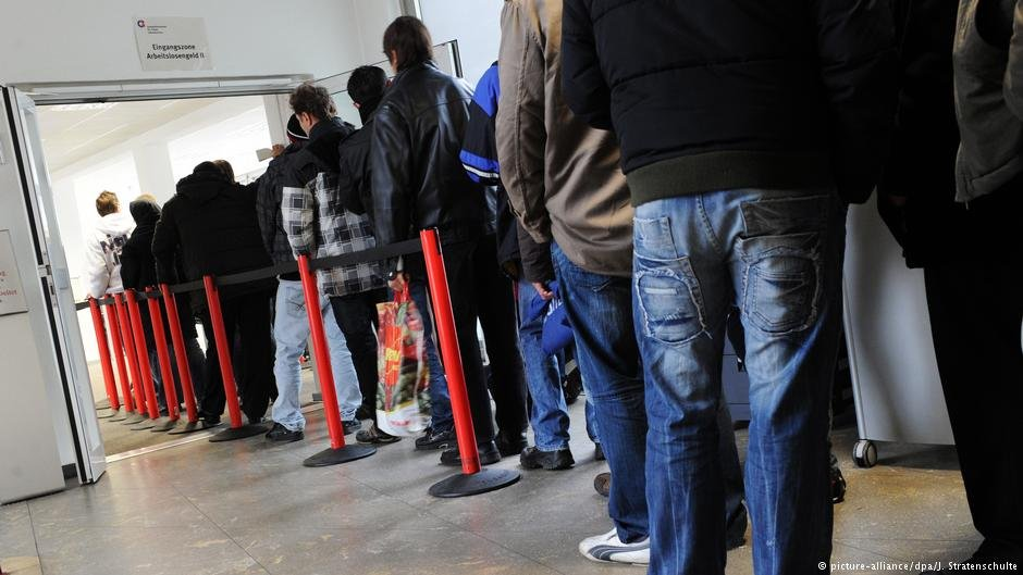 Refugees in line at a job center in Germany