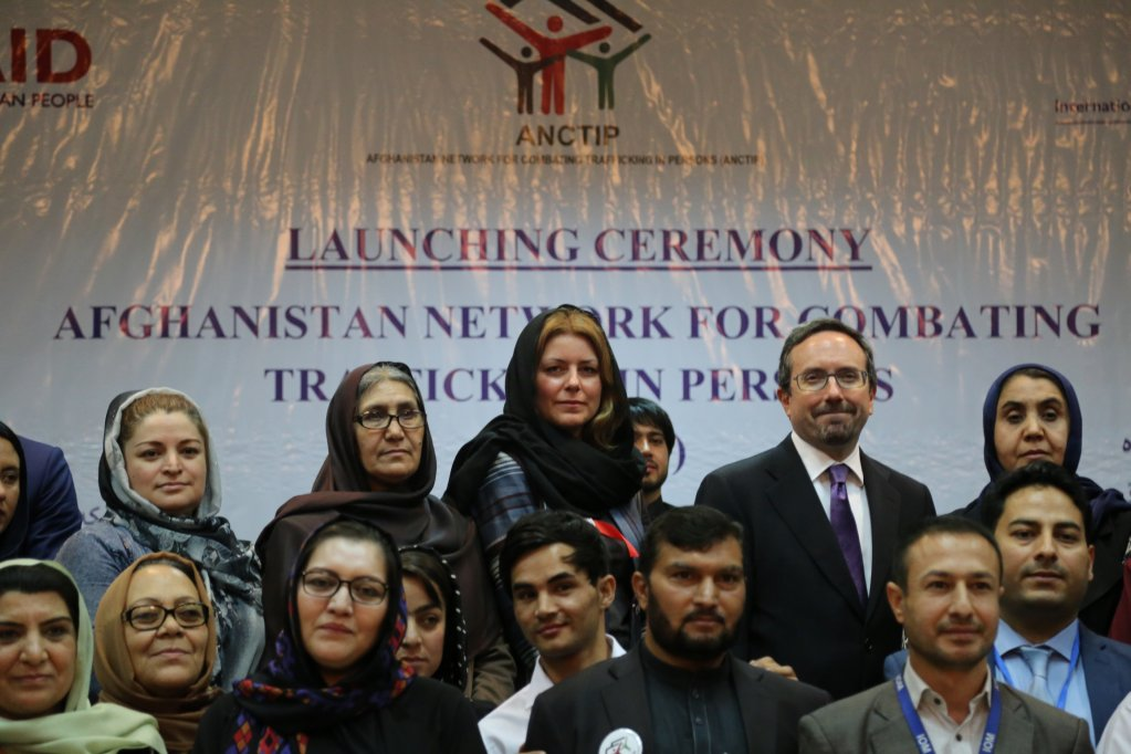 United States Ambassador to Afghanistan John Bass right and Deputy Chief of Mission IOM Afghanistan Sarah Craggs left during the event Photo Schwoerer  IOM Afghanistan