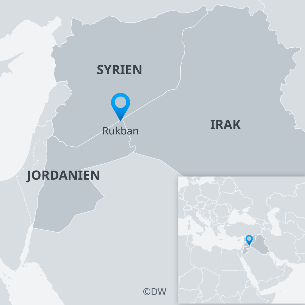 Map showing Rukban refugee camp on the border between Syria and Jordan   Credit: DW