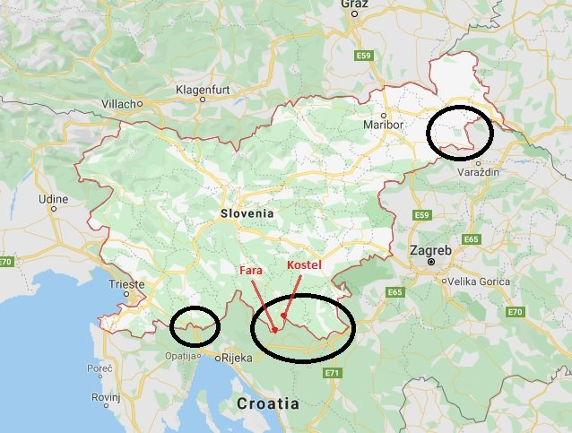 The black circles show the main locations where migrants cross the border from Croatia to Slovenia.