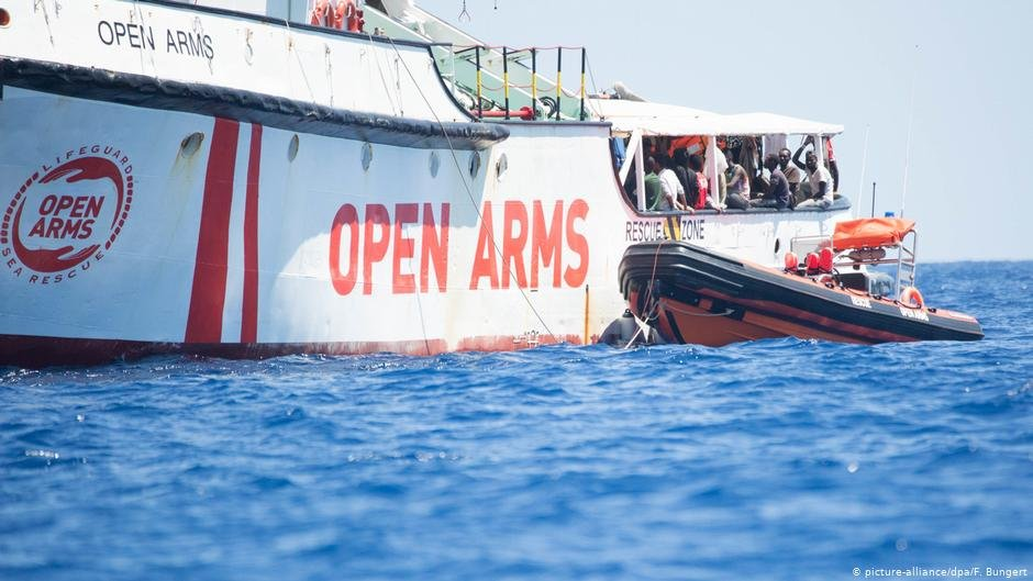 The Spanish rescue ship Open Arms off the coast of Lampedusa  Photo Picture-alliancedpaFBungert