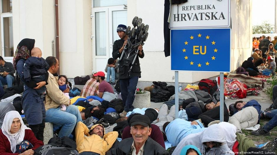 In 2015 displaced people gathered at EU borders including Croatia hoping to enter  Photo Picture-alliancePixsellZLukunic