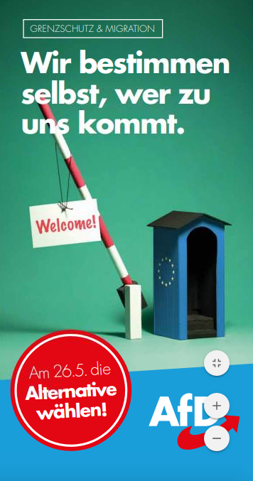 Only we decide who we allow in says an AfD campaign leaflet for the European Parliament elections May 2019  Source AfD Website