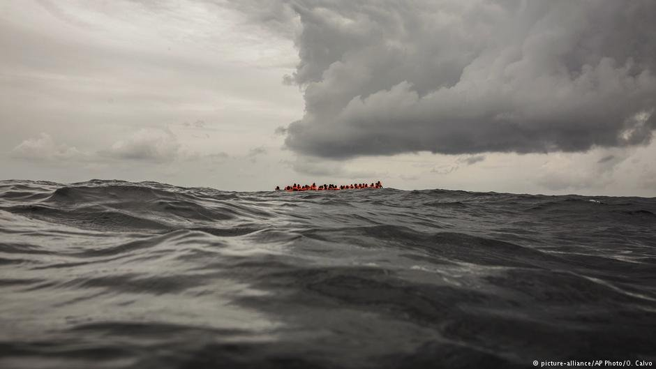 An overcrowded inflatable north of Libya, Feb 18, 2018