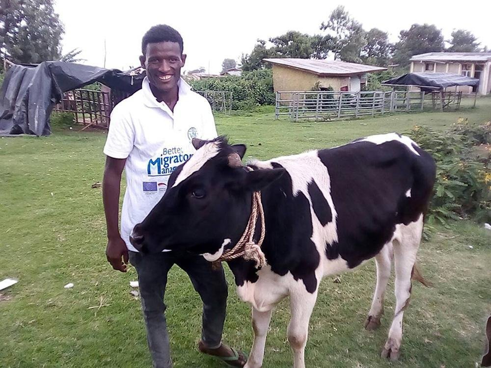 One of the returnees, Abush Girma, used his reintegration grant to start livestock rearing business. Credit: IOM