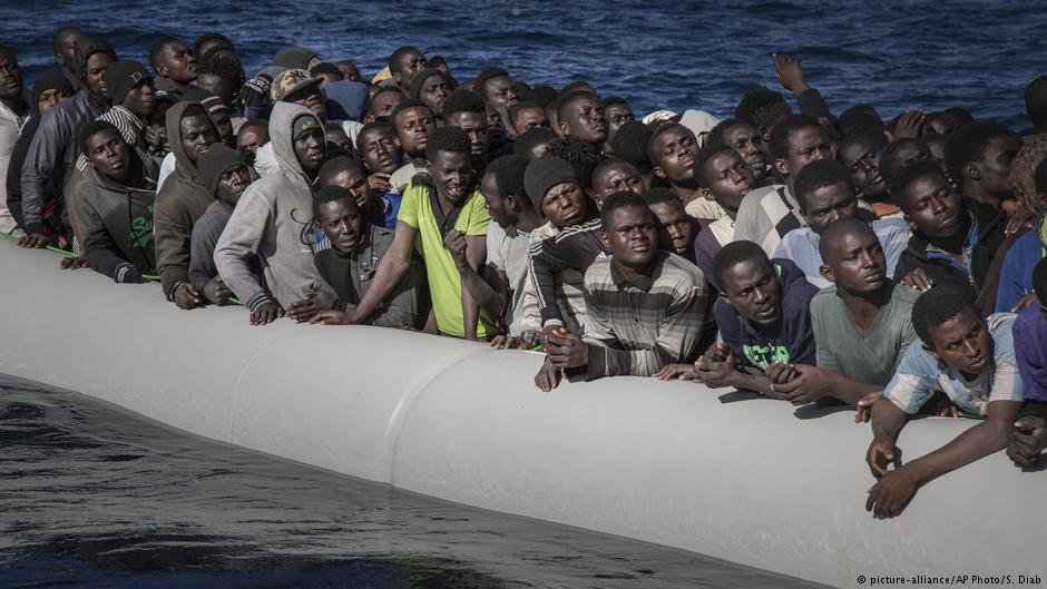 Migrants from West Africa in the Mediterranean off the coast of Libya