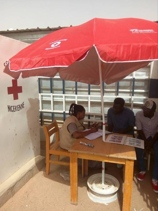 Between January and June 2018 more than 3500 calls were made from the phone stands in Niger Photo ICRC