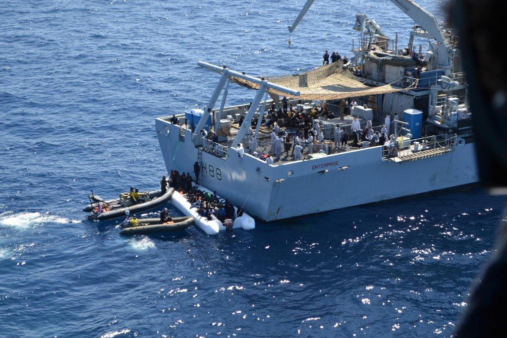 A migrant rescue operation off the coast of Libya under operation Sophia. PHOTO/ARCHIVE/ANSA